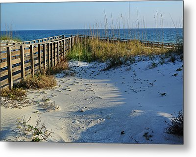 Beach And The Walkway  Metal Print by Michael Thomas