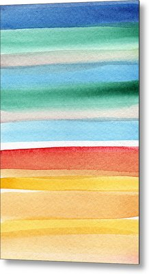 Beach Blanket- Colorful Abstract Painting Metal Print by Linda Woods