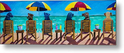 Beach Dogs Metal Print by Roger Wedegis
