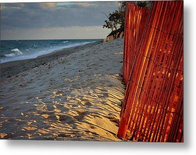 Beach Fence Metal Print by Laura Fasulo
