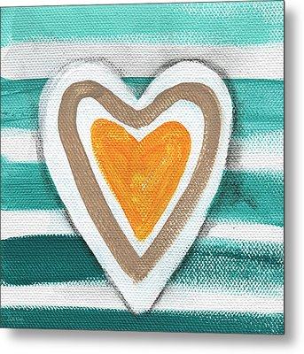 Beach Glass Hearts Metal Print by Linda Woods