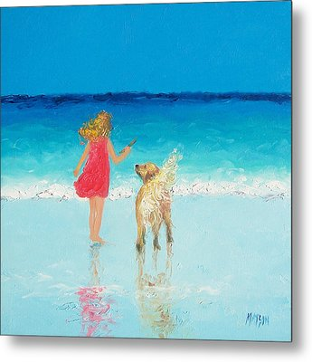 Beach Painting 'sunkissed Hair'  Metal Print by Jan Matson