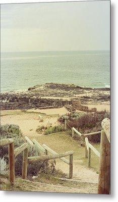 Beach Steps Metal Print by Elaine Teague