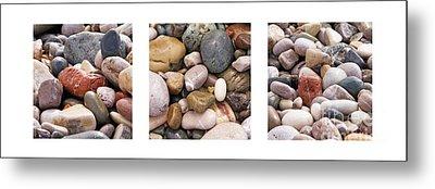 Beach Stones Triptych Metal Print by Stelios Kleanthous