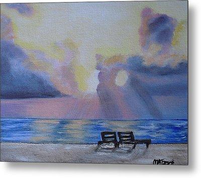 Beach Sunset Metal Print by Melissa Torres