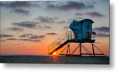 Beach Tower Wide Screen Metal Print by Peter Tellone