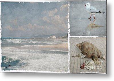 Beach Triptych 1 Metal Print by Linda Lees