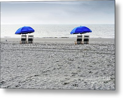 Beach Umbrellas On A Cloudy Day Metal Print by Thomas Marchessault