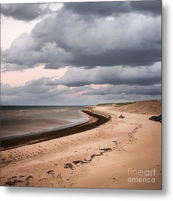 Beach View With Storm Clouds Metal Print by Elena Elisseeva