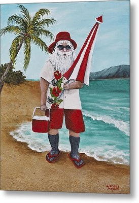 Beachen Santa Metal Print by Darice Machel McGuire