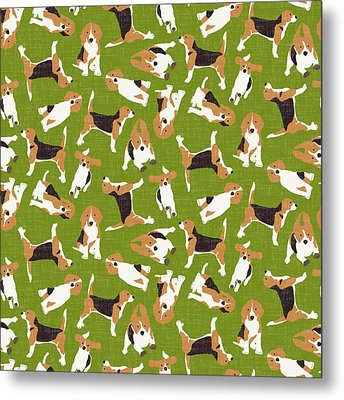 Beagle Scatter Green Metal Print by Sharon Turner