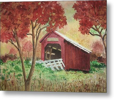 Bean Blossom Covered Bridge Metal Print by Anita Riemen