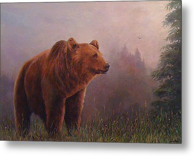 Bear In The Mist Metal Print by Donna Tucker