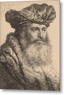 Bearded Man In A Velvet Cap With A Jewel Clasp Metal Print by Rembrandt