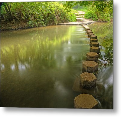 Beautiful Forest Scene Of Enchanted Stream Flowing Through Lush  Metal Print by Matthew Gibson