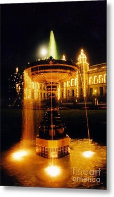 Beautiful Fountain At Night Metal Print by John Malone