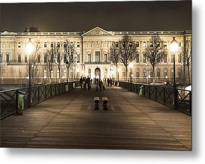 Beautiful Louvre Museum Viewed From The Pont Des Arts At Night Metal Print by Mark E Tisdale