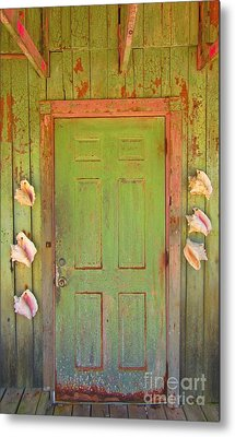Beautiful Old Door With Seashells Metal Print by John Malone