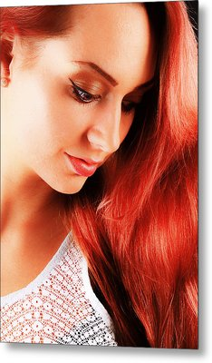 Beauty In Red Hair Metal Print by T Monticello
