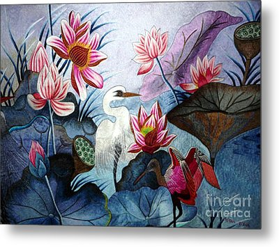 Beauty Of The Lake Hand Embroidery Metal Print by To-Tam Gerwe