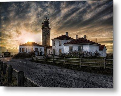 Beavertail Lighthouse Sunset Metal Print by Joan Carroll