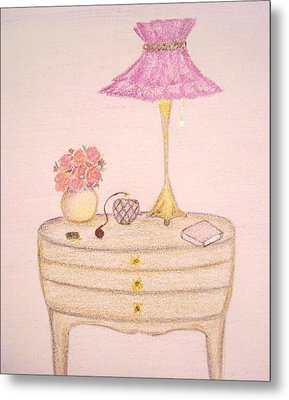Bedside Table Metal Print by Christine Corretti