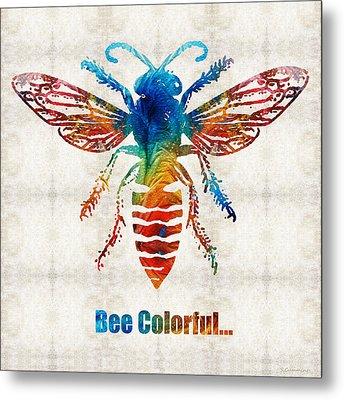 Bee Colorful - Art By Sharon Cummings Metal Print by Sharon Cummings