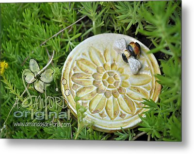 Bee-ware Metal Print by Amanda  Sanford
