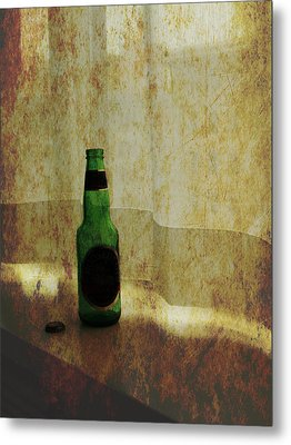 Beer Bottle On Windowsill Metal Print by Randall Nyhof
