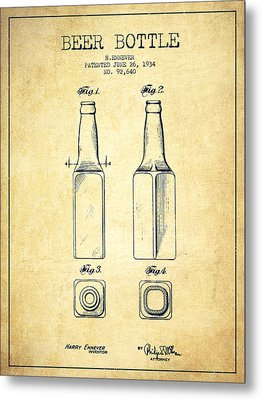 Beer Bottle Patent Drawing From 1934 - Vintage Metal Print by Aged Pixel