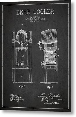 Beer Cooler Patent Drawing From 1876 - Dark Metal Print by Aged Pixel