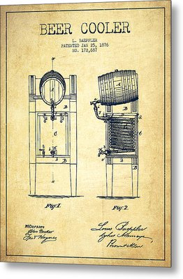 Beer Cooler Patent Drawing From 1876 - Vintage Metal Print by Aged Pixel