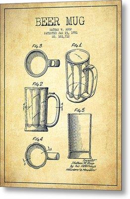 Beer Mug Patent Drawing From 1951 - Vintage Metal Print by Aged Pixel