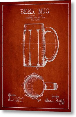 Beer Mug Patent From 1876 - Red Metal Print by Aged Pixel