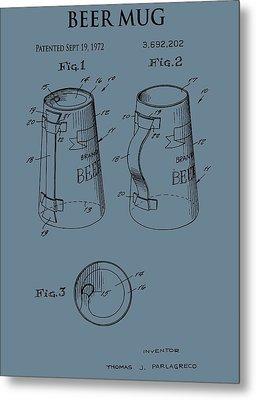 Beer Mug Patent On Blue Metal Print by Dan Sproul