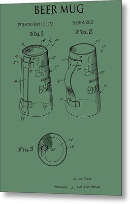 Beer Mug Patent On Green Metal Print by Dan Sproul