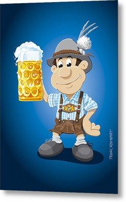 Beer Stein Lederhosen Oktoberfest Cartoon Man Metal Print by Frank Ramspott