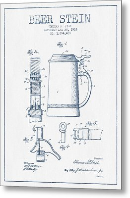 Beer Stein Patent From 1914 -  Blue Ink Metal Print by Aged Pixel