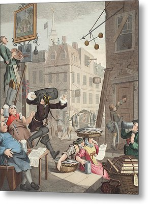 Beer Street, Illustration From Hogarth Metal Print by William Hogarth