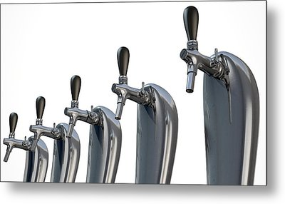 Beer Tap Row Isolated Metal Print by Allan Swart