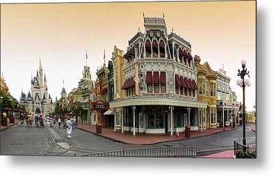 Before The Gates Open Early Morning Magic Kingdom With Castle. Metal Print by Thomas Woolworth