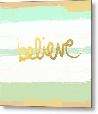 Believe In Mint And Gold Metal Print by Linda Woods