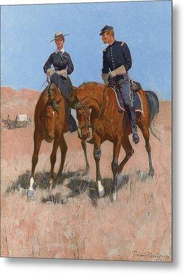 Belle Mckeever And Lt Edgar Wheelock Metal Print by Frederic Remington
