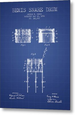 Bemis Snare Drum Patent From 1886 - Blueprint Metal Print by Aged Pixel