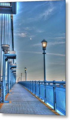 Ben Franklin Bridge Walkway Metal Print by Jennifer Ancker