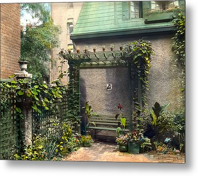 Bench And Plants Metal Print by Terry Reynoldson