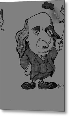 Benjamin Franklin, Caricature Metal Print by Science Photo Library