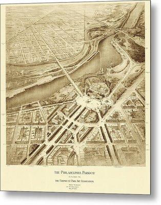 Benjamin Franklin Parkway Plans Metal Print by American Philosophical Society