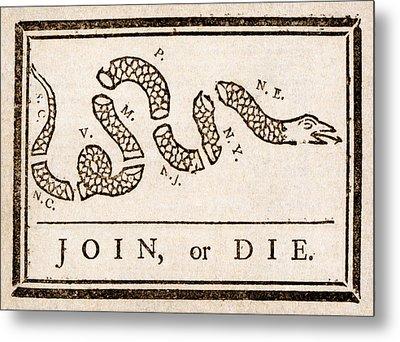 Benjamin Franklin's Join Or Die Cartoon Metal Print by Benjamin Franklin