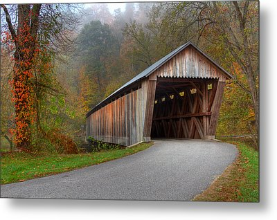 Bennett Mill Covered Bridge Metal Print by Jack R Perry